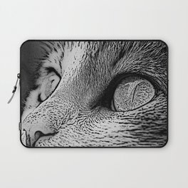 Cat Eyes In Monochrome Close Up Art Laptop Sleeve