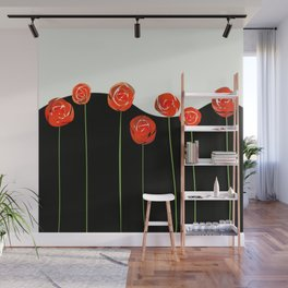 red flowers on black and white Wall Mural