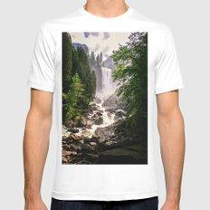 Yosemite Waterfall Mens Fitted Tee White MEDIUM