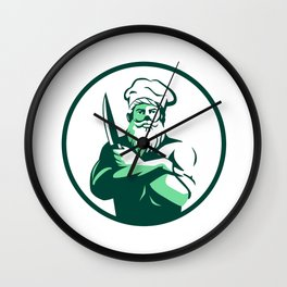 Bearded Chef Arms Crossed Knife Circle Retro Wall Clock