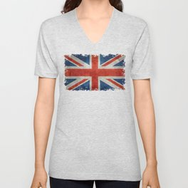"""UK Union Jack flag """"Bright"""" retro grungy style Unisex V-Neck"""