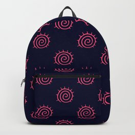 Navy Blue and Pink Flourish Swirls Backpack