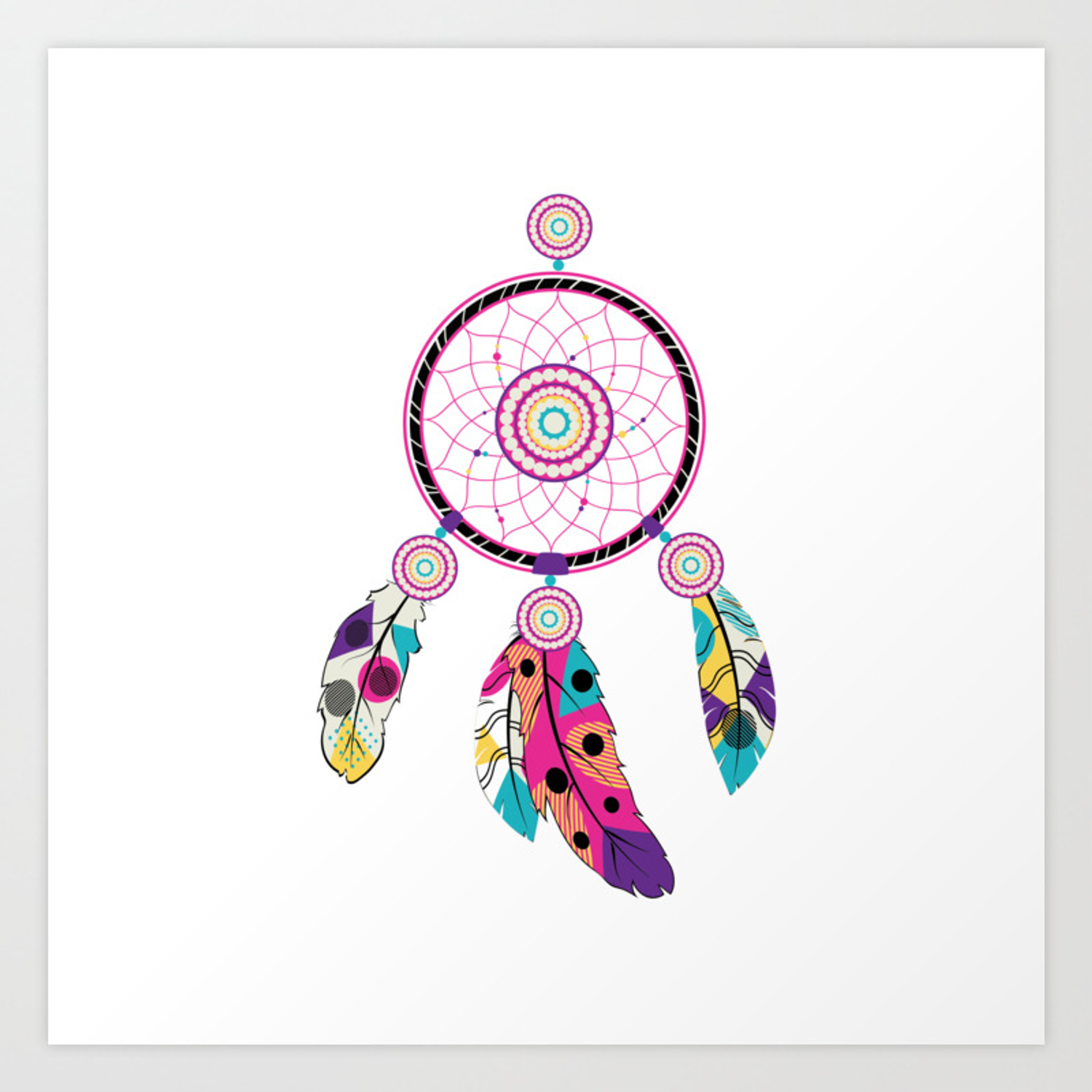 - Decorative Native Dream Catcher With Colorful Stylized Feathers
