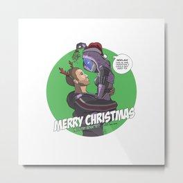 Shepard & Tali Mass Effect Christmas Metal Print