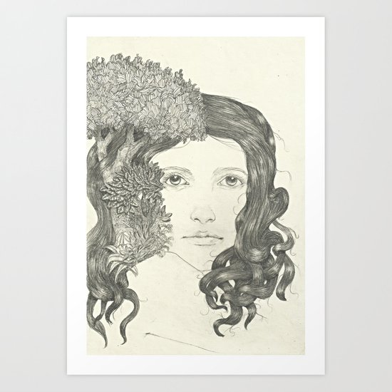 Graphite Trees Art Print
