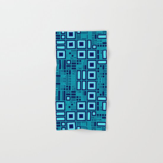Blue digital geometric abstraction Hand & Bath Towel