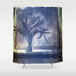 SILL LIFE WITH DEAD LILIES OF THE VALLEY . Film photography. Shower Curtain