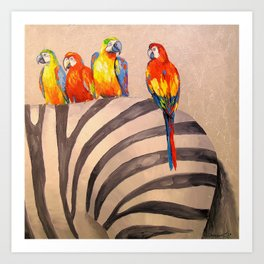Parrots on Zebra Art Print