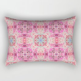 Pink Peach and Blue Pretty Gothic Stained Glass Tile Rectangular Pillow