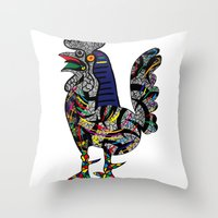 pablo picasso Throw Pillows featuring Pablo Picasso - The Cock by T.Grimm