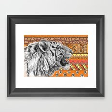 White tiger profile G001-012 Framed Art Print