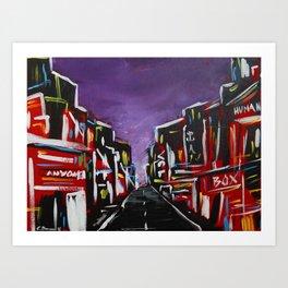 An Empty Street in an Asian City At Night Art Print