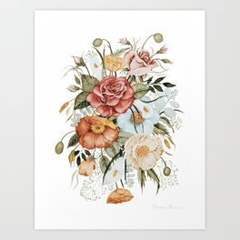 Roses and Poppies Art Print