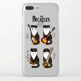 Four cats with guitars for music fans Clear iPhone Case