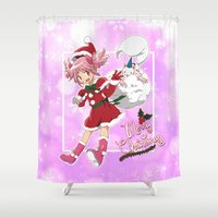 madoka Shower Curtains featuring Merry Christmas Madoka Kaname by Neo Crystal Tokyo