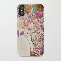 san diego iPhone & iPod Cases featuring San Diego by MapMapMaps.Watercolors