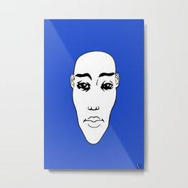 Portrait NB 03 fond bleu Metal Print