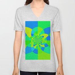 Green & Turquoise Kaleidoscope Design Unisex V-Neck