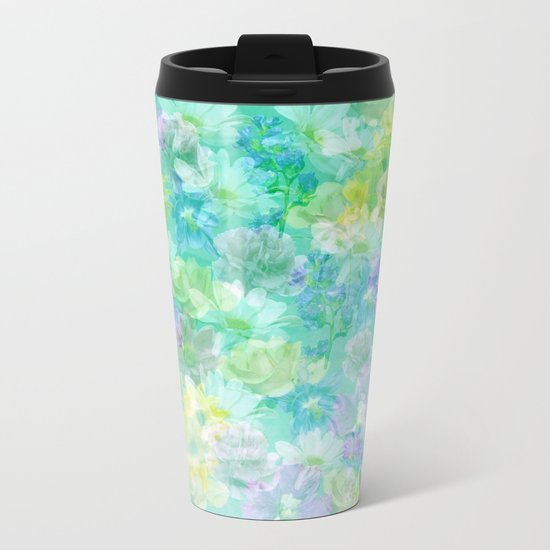 Enchanted Spring Floral Abstract Metal Travel Mug