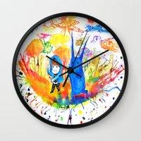 donnie darko Wall Clocks featuring Donnie Darko - Nice Day by Ayemaiden
