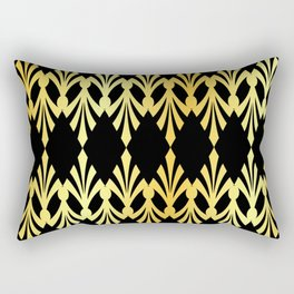 Art Deco Black Gold Pattern Rectangular Pillow
