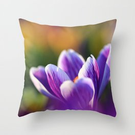 Crocus Flower in the Colorful Field in Spring Throw Pillow