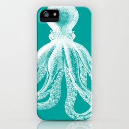 Octopus | Teal and White iPhone Case