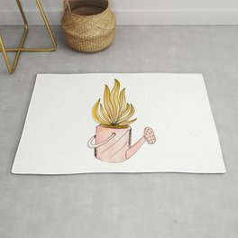 Cute Watercolor illustration. Pink watering can with yellow leaves. Rug