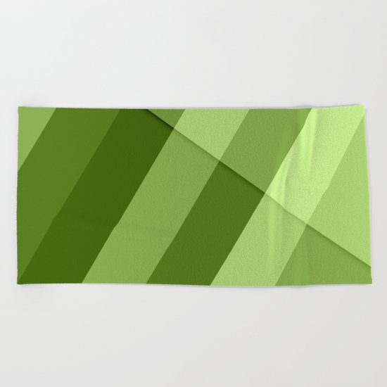 Greenery modern geometric lines Beach Towel