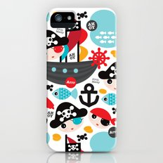 Cute kids pirate ship and parrot illustration pattern Slim Case iPhone (5, 5s)