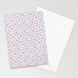 Blue Pink Flower Pattern Stationery Cards