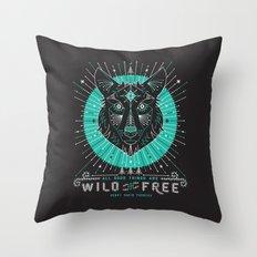 Wild & Free Wolf – Turquoise & Grey Throw Pillow