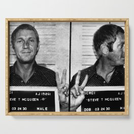 Steve McQueen Mug Shot Horizontal Serving Tray