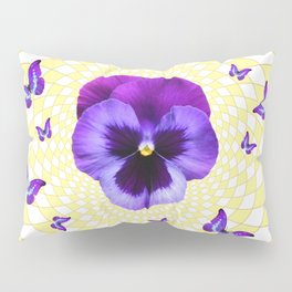 PURPLE BUTTERFLIES & PANSIES GEOMETRIC PATTERN Pillow Sham