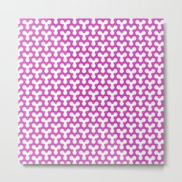 Hot Pink Triangles on White Metal Print