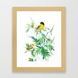 Baltimore Oriole Birds and White Oak Tree Framed Art Print