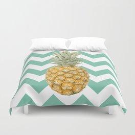 Pineapple on turquoise stripes background Duvet Cover