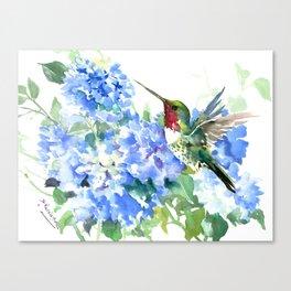 Hydrangea Flowers and Ruby Throat Hummingbird Canvas Print