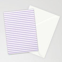 Modern lavender white trendy striped geometrical Stationery Cards