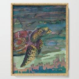 sea turtle watercolor Serving Tray