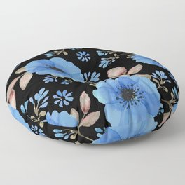 Blue flowers with black Floor Pillow
