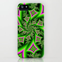 Green And Pink Shapes Fractal iPhone Case
