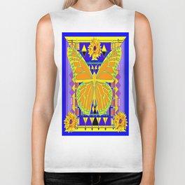 Yellow, Purple & Lapis Blue Modern Art Deco Butterfly-Sunflower Art Biker Tank