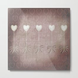 Lost love hearts in antique style Metal Print