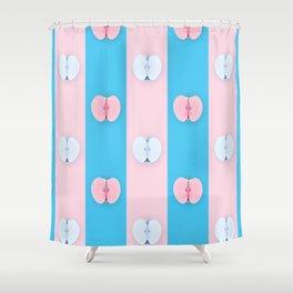 Blue pink apples halves pop art Shower Curtain