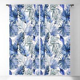Tropical plants in indigo blue Blackout Curtain