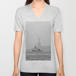Tug Boat & Statue of Liberty in Black & White Unisex V-Neck