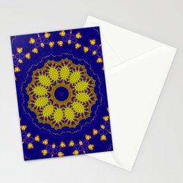Purple yellow  mandala , kaleidoscope Stationery Cards