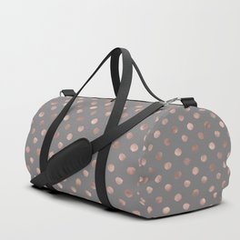 Simple Hand Painted Rosegold polkadots on gray background Duffle Bag