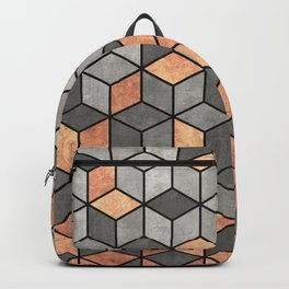 Concrete and Copper Cubes Backpack